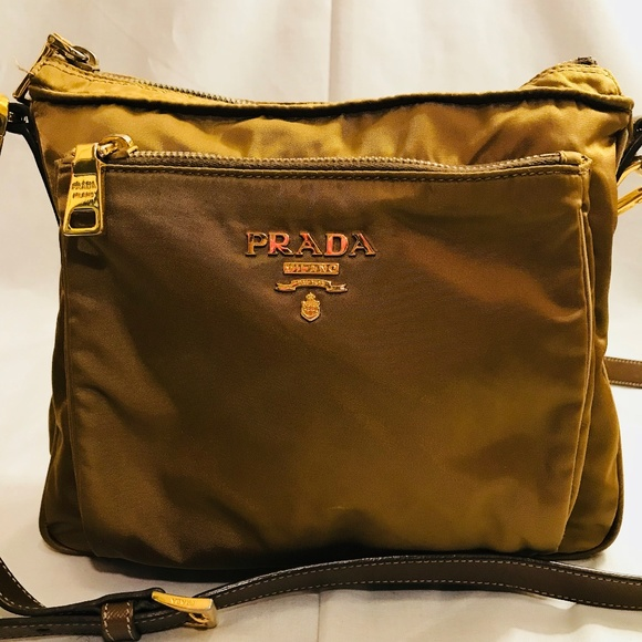 Prada Bags   Mustard Yellow Tan Tessuto Crossbody Bag   Poshmark e43cf9d4e8